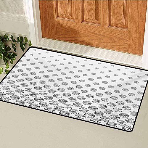 (GUUVOR Geometric Circle Inlet Outdoor Door mat Spiraling Rotary Circle Turning to Polka Dots Concentric Grid Lines Tile Catch dust Snow and mud W19.7 x L31.5 Inch Grey White)