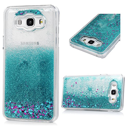 Bling Case Plastic Hard (For Galaxy J7 2016 Case, Galaxy J7 J710 Case, Transparent Clear Hard PC Plastic Shell Bling Sparkle Glitter Quicksand and Cute Star Flowing Liquid Cover FOR Samsung Galaxy J7 2016 - Light Blue)