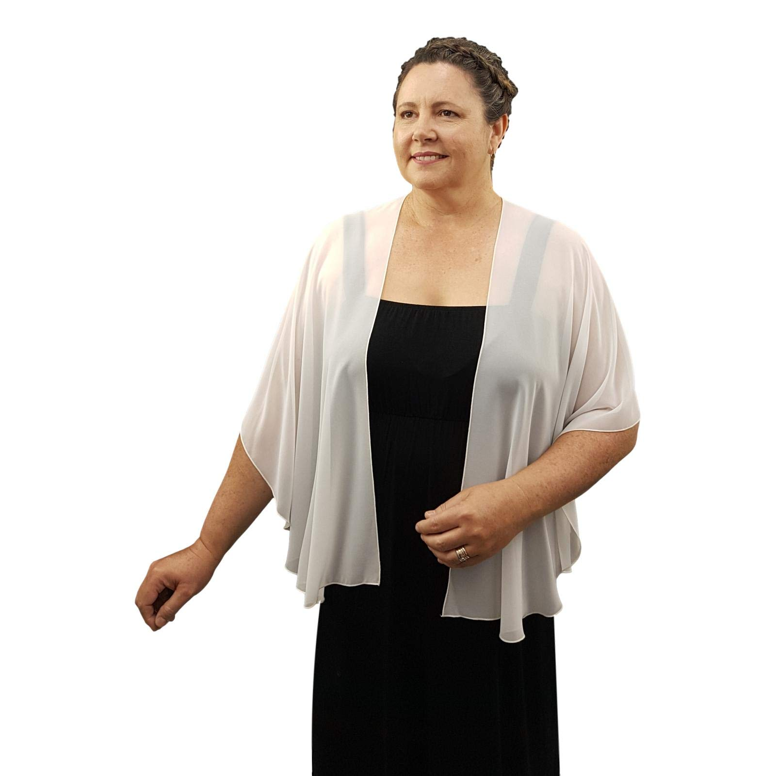 eXcaped Women's Evening Shawl Wrap Sheer Chiffon Open Front Cape and