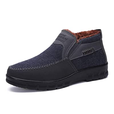 Men's Snow Boots Moccasins Slippers Plush Loafers Warm Lined Driving Indoor Outdoor Winter Non-Slip Elderly Walking Sneaker Shoes | Snow Boots