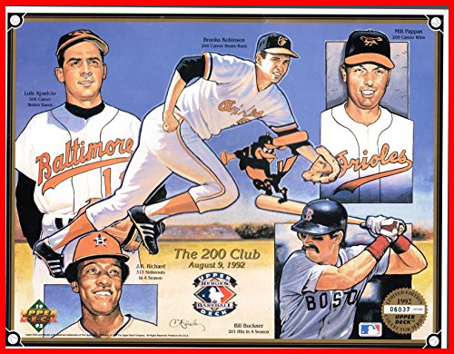 50000 Prints - 1992 Upper Deck 200 Club MLB Baseball Print Serial #6037/50000 Measures 8.5x11 Luis Aparicio Brooks Robinson Milt Pappas Baltimore Orioles J.R Richard Houston Astros Bill Buckner Boston Red Sox (nrmt)
