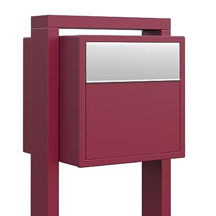 Boite Aux Lettres Design Soprano Rouge Inox Bravios