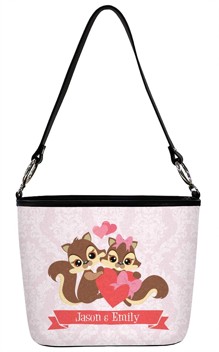 Personalized Chipmunk Couple Bucket Bag w//Genuine Leather Trim Large Front /& Back