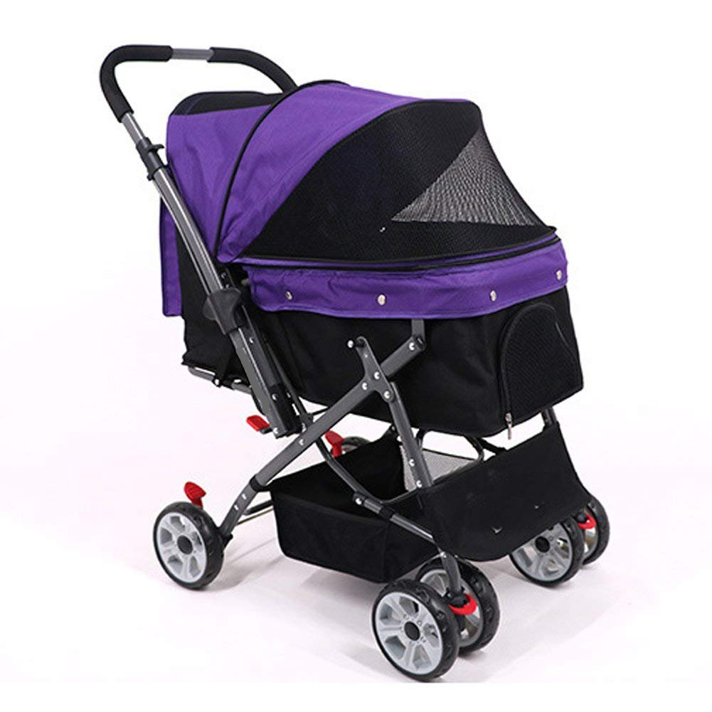Purple Pet Stroller Portable Dog Travel Bag High-end Four-Wheeled Two-Way Cat Travel Cart,Purple