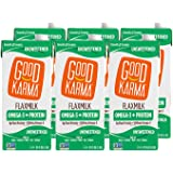 Good Karma Flaxmilk, Unsweetened, 32 oz. (Shelf Stable 6 Pack), A Creamy, Dairy Free Milk Alternative With Plant-Based Protein That Is Vegan, Non-GMO, Nut Free & Soy Free.