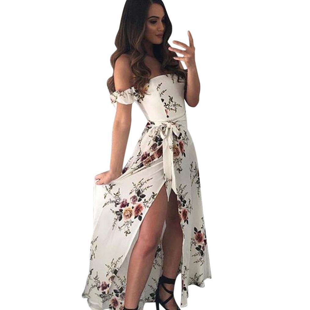 Yang-Yi Clearance, Fashion Summer Boho Chiffon Off Shoulder Beach Dress Women Floral Print Long Strapless Dress (White, US S)
