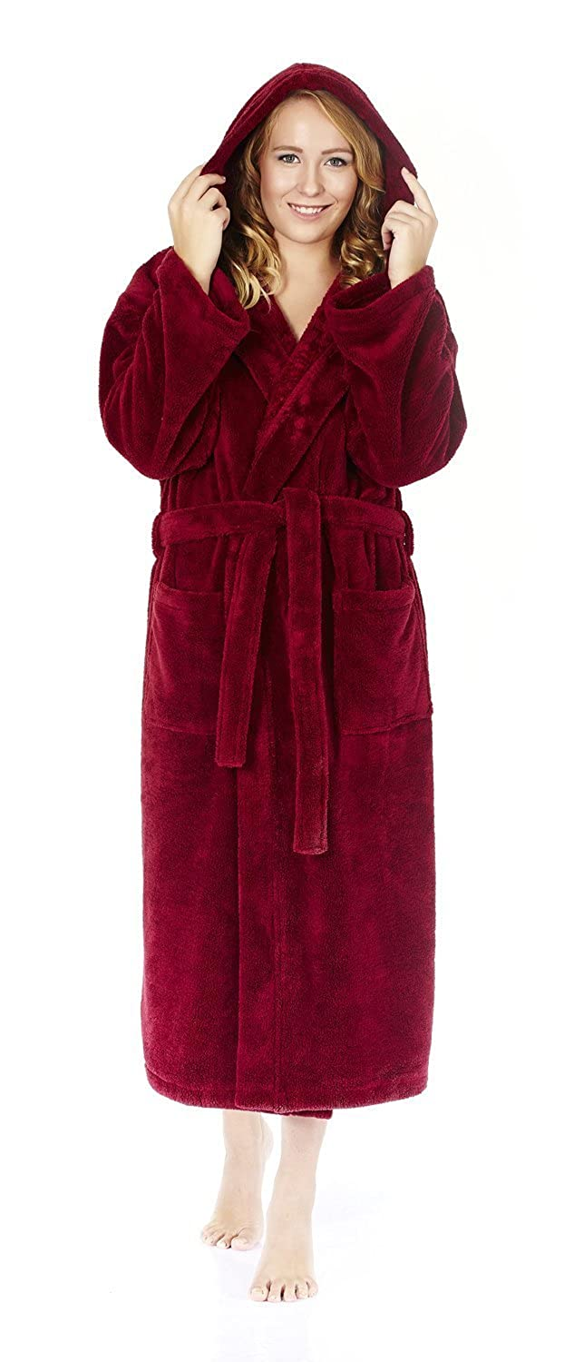 Arus Women's Hooded Fleece Bathrobe Turkish Soft Plush Robe Arus Marketing