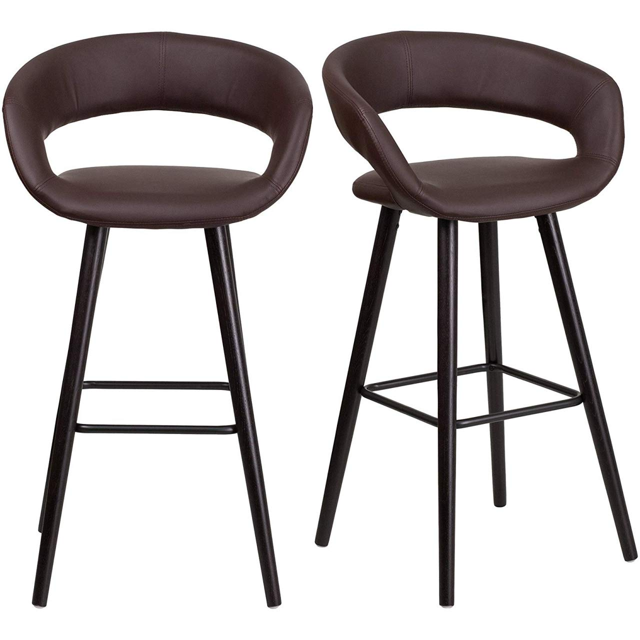 """KLS14 Set of 2 Contemporary Rounded Low Back Design 29.5"""" High Bar Stools Commercial Dining Chairs Home Office Furniture, Brown Vinyl/2365"""