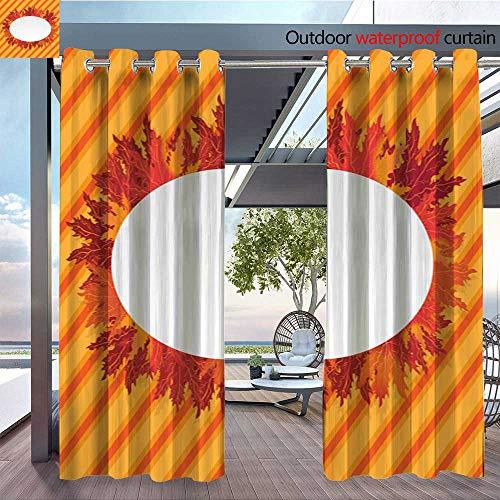 - QianHe Indoor/Outdoor Single Panel Print Window Curtain Autumn-Leafs-Oval-Label.jpg Silver Grommet Top Drape W72 x L108(183cm x 274cm)