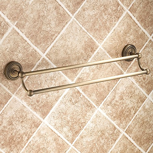 (Copper Patina Imitation Towel Rack Hanging Hardware Bathroom Towel Bar Double European Retro Bathroom Towel Rack)