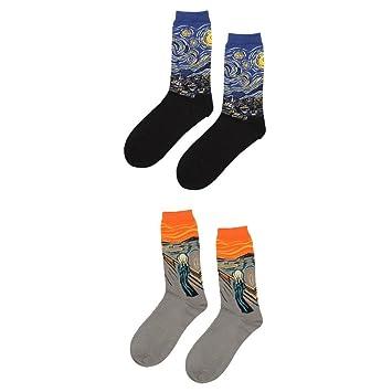 gazechimp 2 pares de calcetines Hombres Unisex Pintura de ...