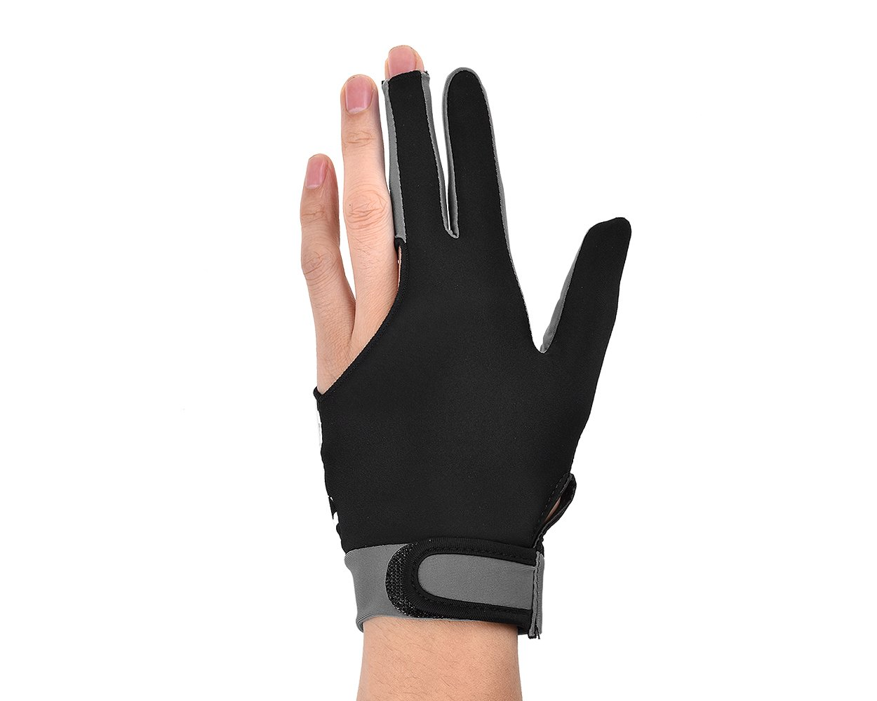 Gris DSstyles 1 pi/èce Elastic Lycra 3 Fingers Pool and Billiard Snooker Glove taille M