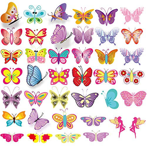 Temporary Tattoos for Kids(80pcs),Konsait Colorful Butterfly Tattoos Body Art Stickers for Children Girls Birthday Party…