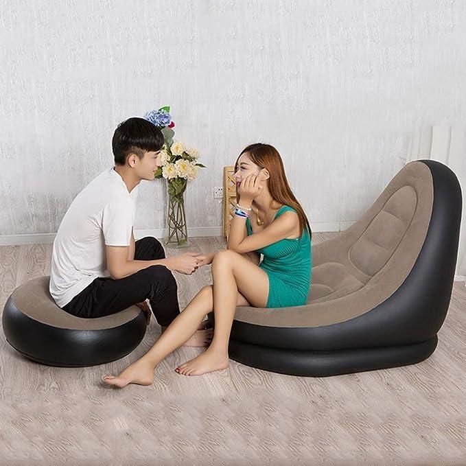 Amazon.com: ZLZDZ - Sofá hinchable con reposapiés otomano ...