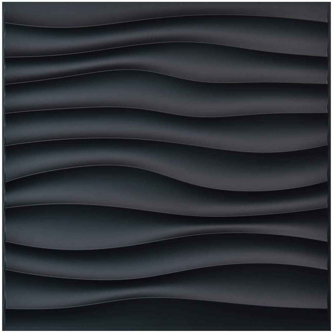 Amazon Com Art3d Pvc Wave Panels For Interior Wall Decor Black Textured 3d Wall Tiles 19 7 X 19 7 12 Pack Home Improvement