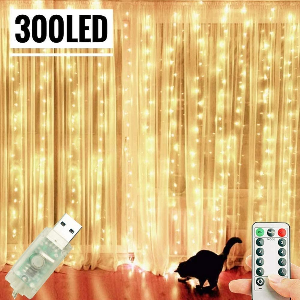 Amazon Com Hwzqhjy Curtain String Lights 300 Led Window String Fairy Lights Usb Power With Remote For Christmas Halloween Wedding Party Indoor Outdoor Home Decor Warm White Garden Outdoor