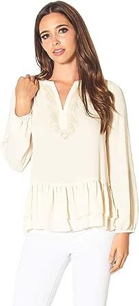 PERSEPHONE Split Neck Lace Ruffle Long Sleeve Blouse