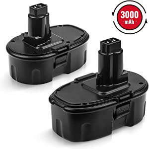 2Pack DC9096 3.0Ah Battery Replacement for Dewalt 18V Battery XRP DC9098 DC9099 DC970 DW9095 DW9096 DW9098 DW9099 DE9039 DE9095 DE9096 DE9098 DE9503 Cordless Power Tools