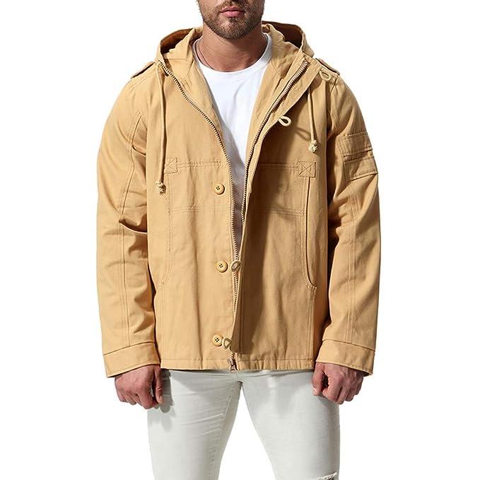 Abrigos Hombre, Hanomes Chaqueta Larga de los Hombres de la Moda Abrigo de Invierno Abrigo de algodón Militar con Capucha: Amazon.es: Ropa y accesorios