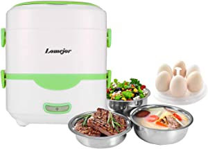 Lomejor Self Cooking Electric Lunch Box, Mini Rice Cooker, Multi-function Cooking Steaming Lunch Box for Home Office School Cook Raw Food, 1.5L/110V/ Green