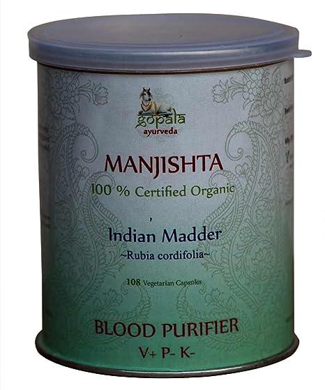 Manjishta (Rubia cordifolia) cápsulas, planta ayurvédica tradicional para purificar la sangre,Certificado