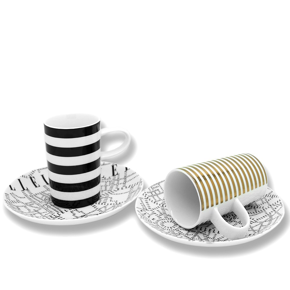 ELLE Plan de Paris Gold and Black Espresso Coffee Cup and saucer set 2pc