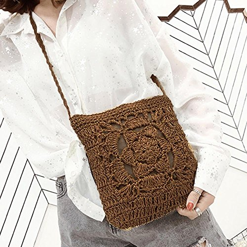 Shoulder Vintage Summer YouN Crochet Messenger Coffee Bag Women Bags Braid Beige Girls wRYR10fq