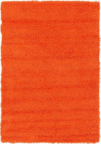 Unique Loom Solo Solid Shag Collection Modern Plush Tiger Orange Area Rug (4' 0 x 6' 0)
