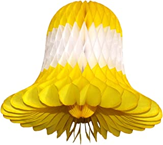product image for 3-Pack 15 Inch Honeycomb Tissue Paper Wedding Bell Party Decoration (Yellow/White/Yellow)