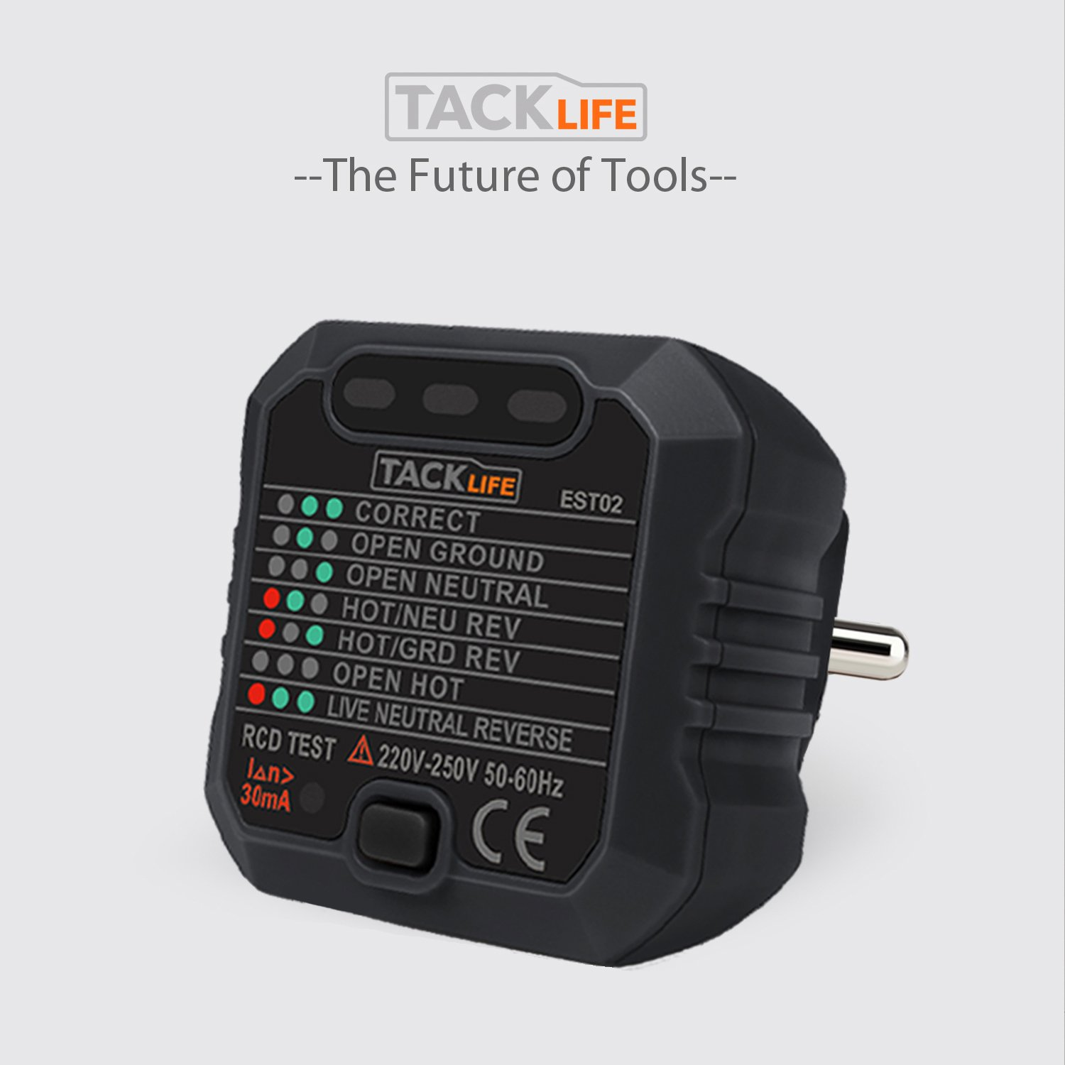 Meter Tester 1 Piece Neutral and Earth Polarity Tacklife EST02/Advanced Socket and Wiring Current Tester for Electrical Circuits