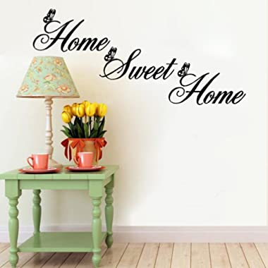 Ecurson   Home Sweet Home   Quotes Butterfly Wall Stickers Removable Decal Home Bedroom Living Room Decor DIY Art Decoration
