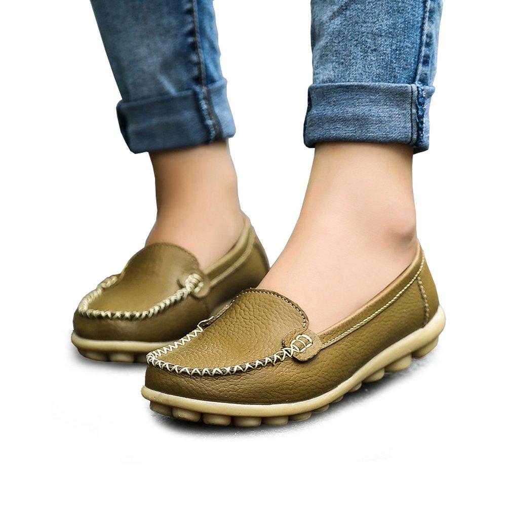 Women's Soft Comfort Leather Loafers Slip On Driving Walking Flats Shoes Khaki 9 B(M) US