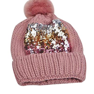 928849ca Women's Warm Beanie Hat with Pom Knit Cap with Sequin Sparkly ...