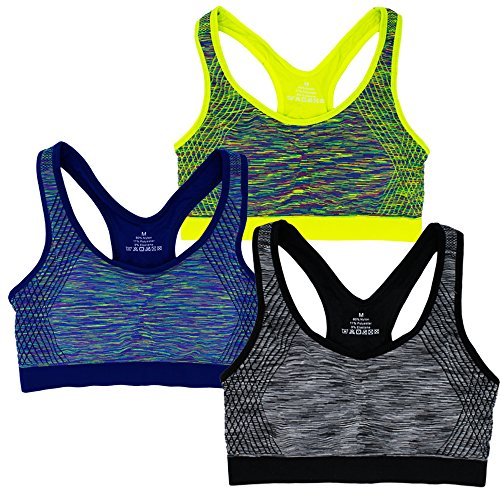 Women's Seamless Racerback Low Impact Sports Bra Wire-Free with Removable Cups (L, 3 Pack B)