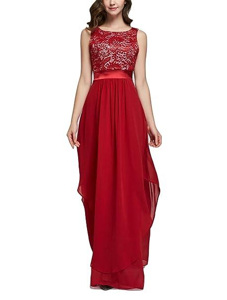 10f16b393 SYGoodBUY Vestidos Largos sin Mangas para Mujer Ceremonia sin Mangas  Elegante Vestido de Noche Chiffon Banquete