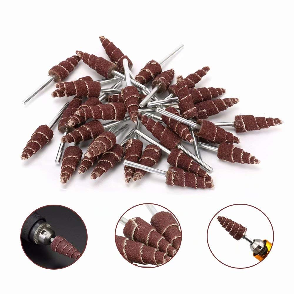 20Pcs Cone Shape Abrasive Sandpaper Flap Sanding Wheel Grinding Head Rotary Tool for Grinding and Polishing on Surface and Side Face 1//8 Shank 3x10mm