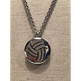 Essential Oils Diffuser 316L Surgical Stainless Steel Necklace Volleyball striped pendant with 24
