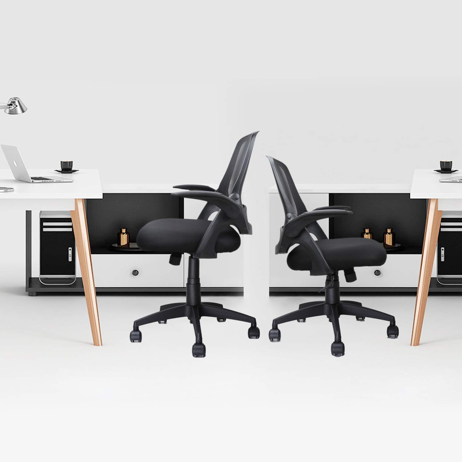 Ergousit Mid-Back Mesh Office Chair, Ergonomic Desk Chairs Swivel Computer Task Chairs with Adjustable Height and Flip-up Armrest - Lumbar Support and Sponge Cushion in Black (Black) by Ergousit (Image #5)