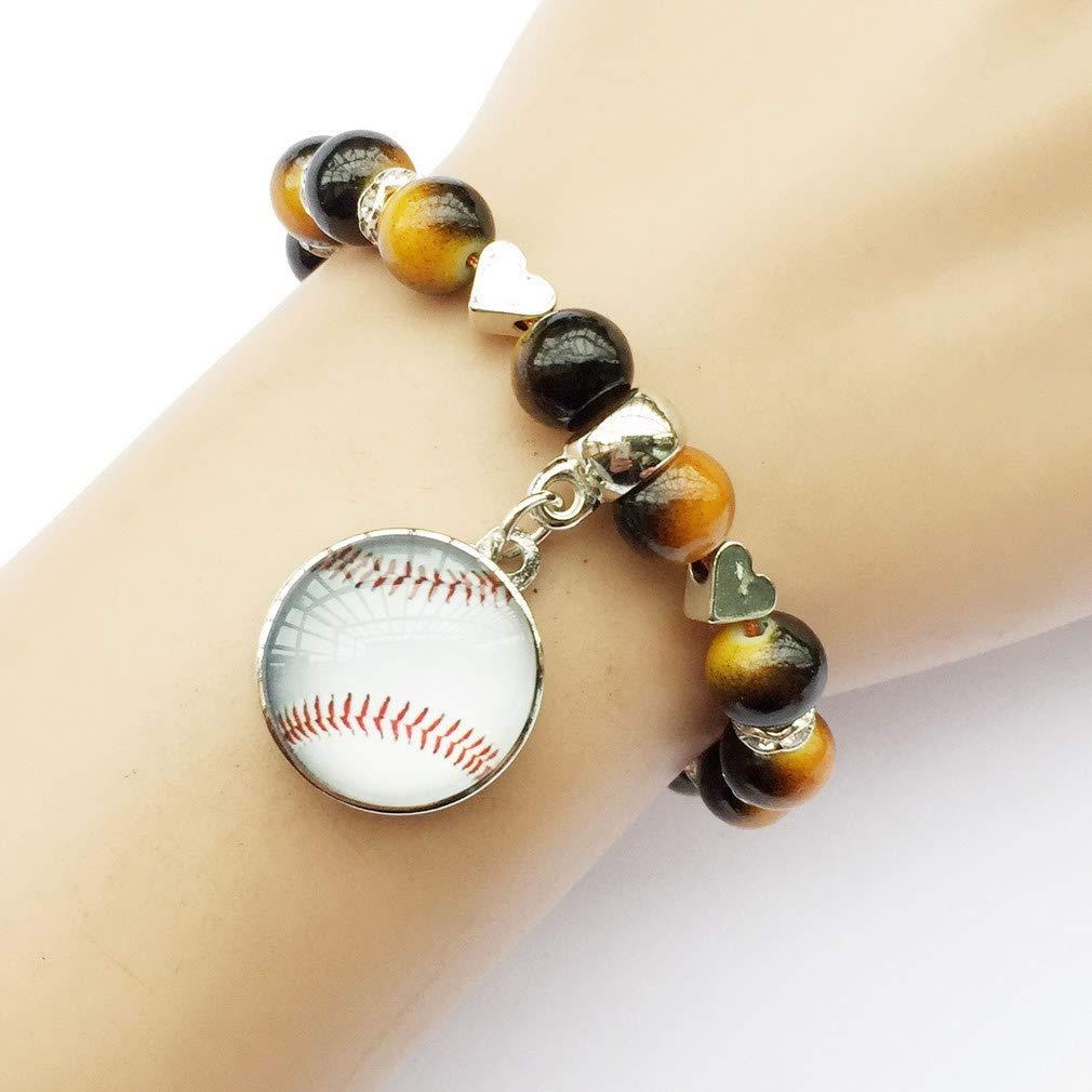 DOLON 18mm Interchangeable Snap Charm Baseball Bracelet Fake Pearl Beaded Handmade Jewelry Gift