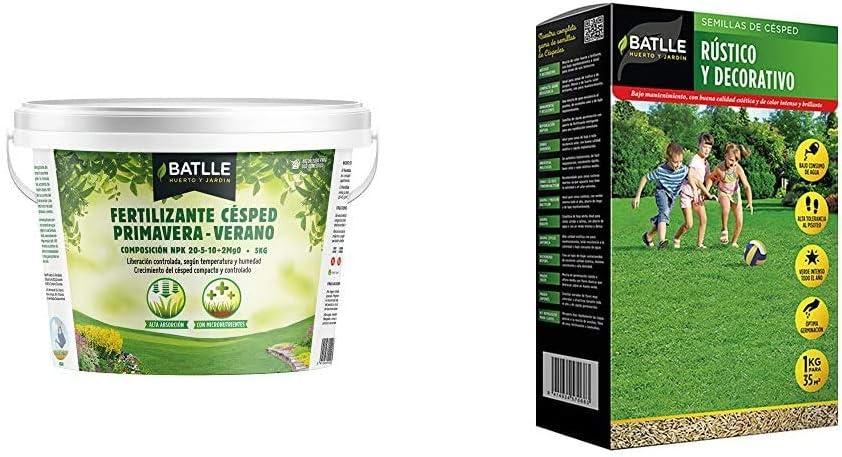 Abonos - Fertilizante Cesped Primavera-Verano Cubo 5kg - Batlle + Semillas de Césped - Césped Rústico y Decorativo 1Kg - Batlle