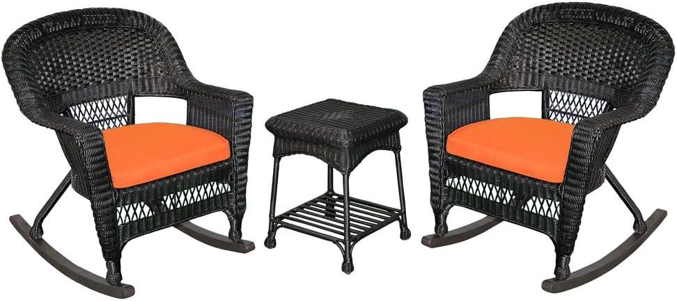Jeco 3 Piece Rocker Wicker Chair Set with Orange Cushion, Black