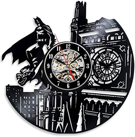 Batman Dark Knight Hero Arkham City DC Comics Movie Characters Vinyl Record Design Wall Clock – Decorate your home with Modern Famous Batman Dark Knight Story Art – Best gift for him or her