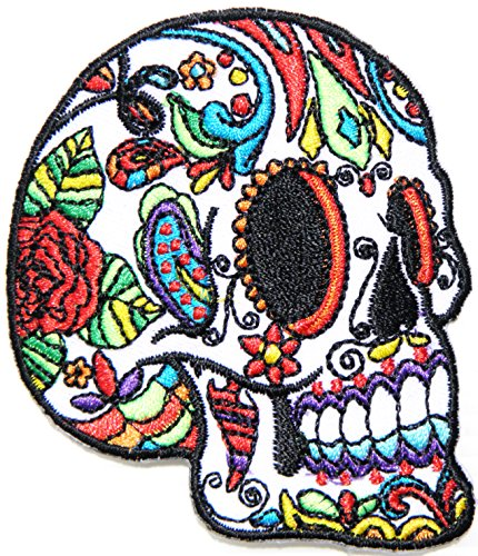 Rose Flora Flower Calavera Mexican Sugar Skull Floral Love Never Die Lady Day of Death Patch Sew Iron on Embroidered Applique Fabric Motif Cloth Decoration DIY Costume (No.2 (2.75