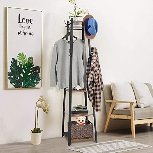 JKRED Industrial Style Coat Rack with 3-Tier Storage Shelves, Multipurpose Hanger for Entryway, Clothes Laundry Coat Stand with 8 Hooks, 70.9 inches