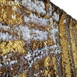 DUOBAO Sequin Backdrop 20FTx10FT Gold to Silver Shimmer Backdrop Mermaid Reversible Sequin Backdrop Curtain Bridal Shower Photo Booth Backdrop