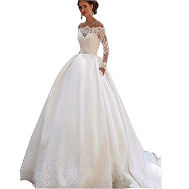 9465fe31750a Chady Satin Wedding Dresses for Bride 2018 Ball Gown Off Shoulder Long  Sleeves Lace Appliques Vintage Bridal Gowns at Amazon Women s Clothing  store