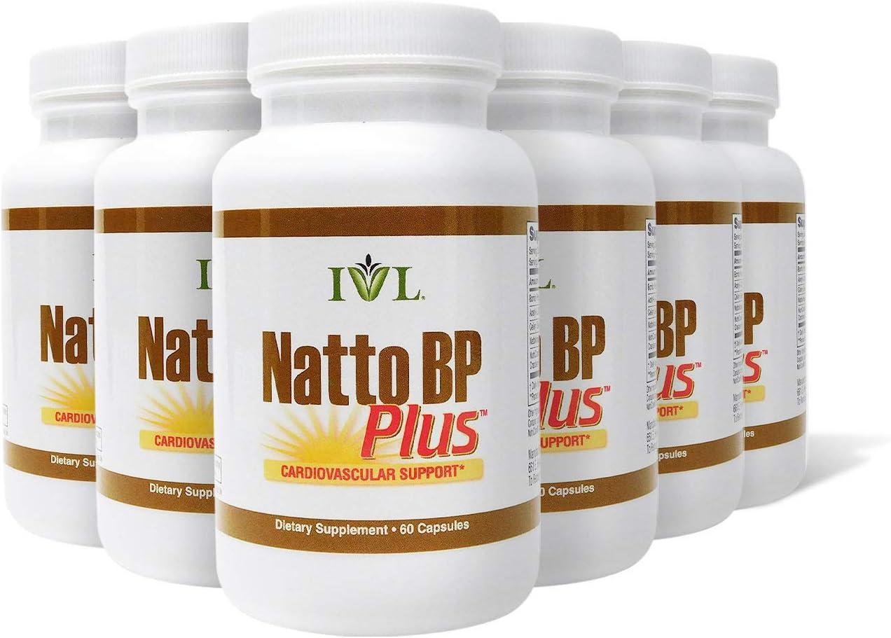 IVL NattoBP Plus Cardiovascular Support Supplement, 60 Capsules per Bottle (Pack of 6)