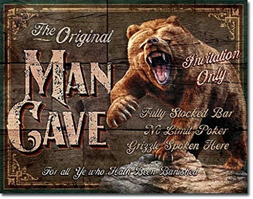 "UPC 605279119257, Desperate Enterprises Man Cave ""Grizzly Bear"" Tin Sign, 12 by 16-Inch"