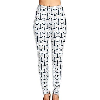 69cff43581f35 Amazon.com: Printed Leggings Full-Length Black Anchor Opaque Yoga Pants:  Clothing