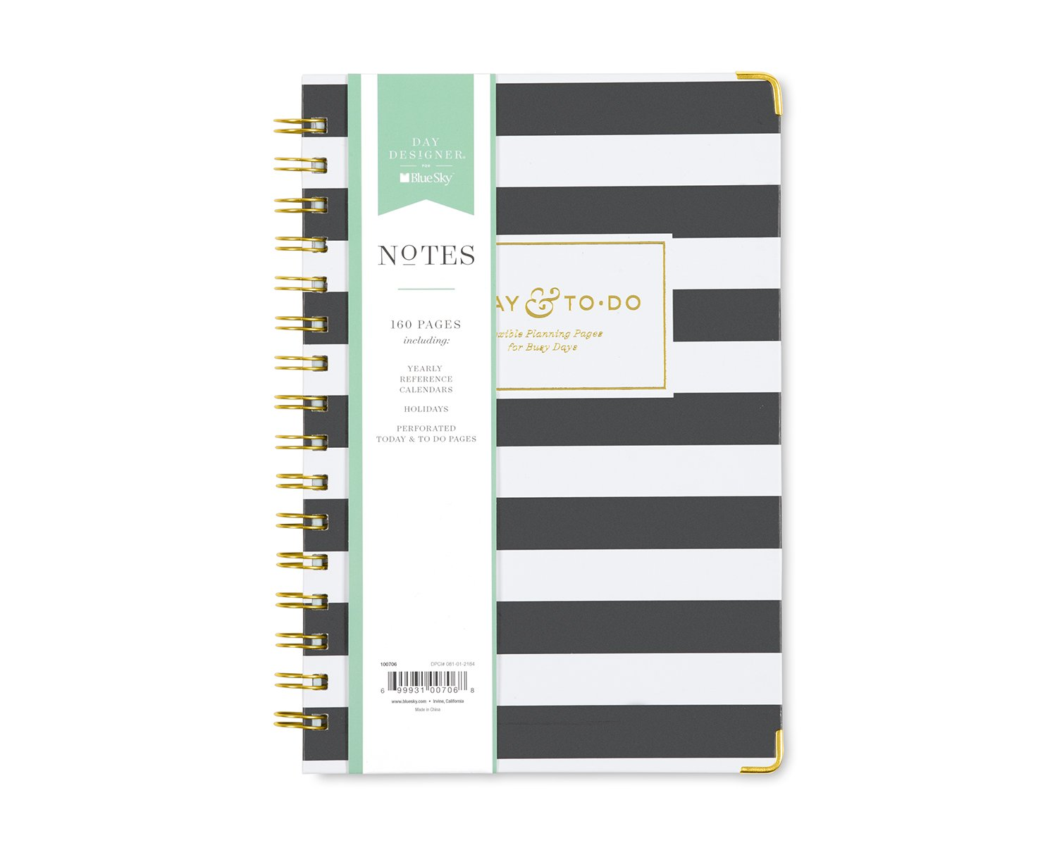 Day Designer for Blue Sky Today To-Do Notebook, 160 Ruled Pages, Twin-Wire Binding, Hardcover, 5.75'' x 8.5'', Black Stripe